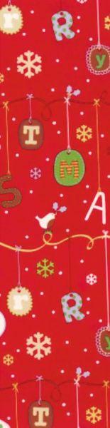 Rotes Geschenkpapier Muster 5 bedruckt mit Weihnachtshängedeko in verschiedenen Farben