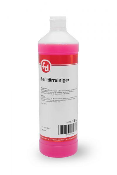 Pinkfarbener Sanitärreiniger in der 1-Liter-Flasche mit Klappscharnierverschluss
