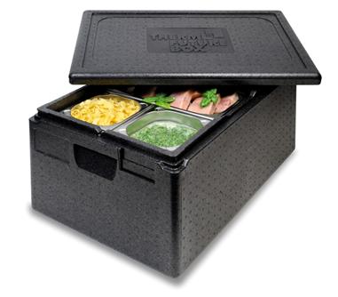 Schwarze Thermostyroporbox gefüllt mit Speisen