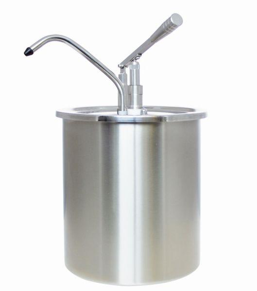 Edelstahl-Dosieraufsatz mit Hebelbedienung aufgesetzt auf Edelstahl-Behälter mit 10 Liter Volumen
