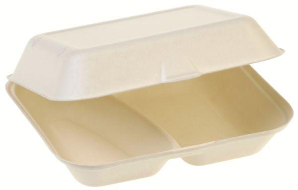 Bio Food Box mit Klappdeckel aus Zuckerrohr, zweiteilig