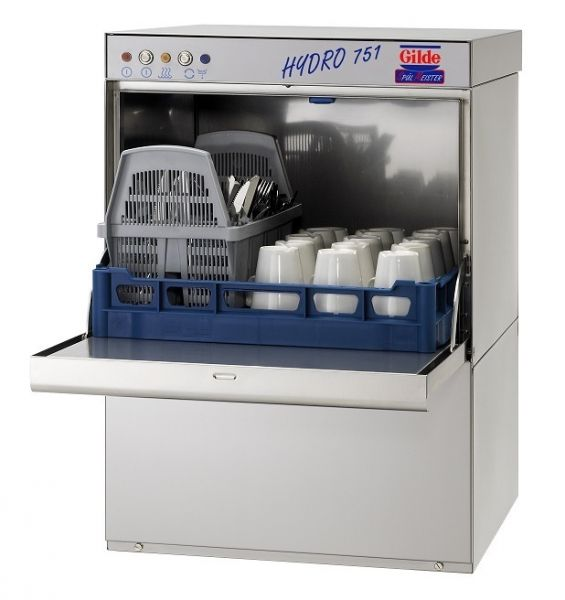 Industriespülmaschine mit offenem Korb für Gläser, Tassen und Teller sowie bestückbarem Geschirrkorb