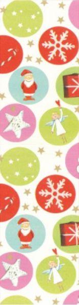 Geschenkpapier Muster 1 mit großen bunten Punkten, Sternen und verschiedenen Weihnachtsmotiven