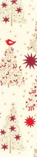 cremefarbenes Geschenkpapier Muster 4 mit Tannenbäumen in gold und Rottönen