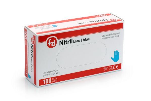 Rot-weiße Box aus Karton mit einhundert puderfreien Einweghandschuhen aus Nitril in der Farbe blau