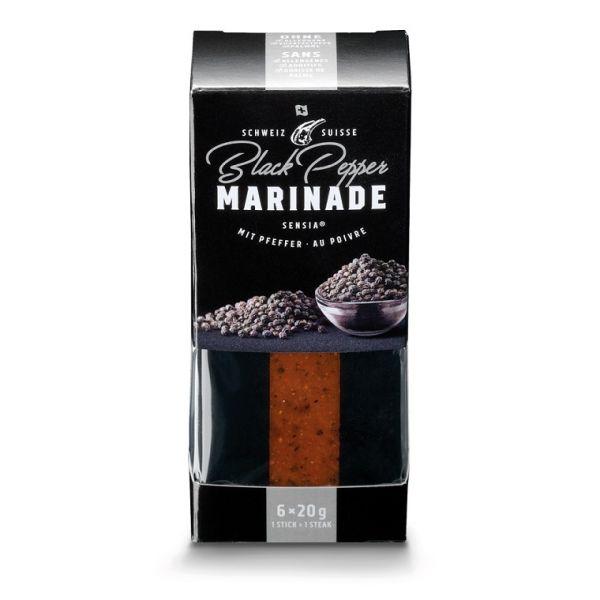 Verpackung mit portionierten Gewürzmarinaden für Grillgut mit Geschmack Black Pepper durch Pfeffer