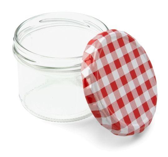 230 ml Sturzglas mit rot-weiß kariertem Deckel