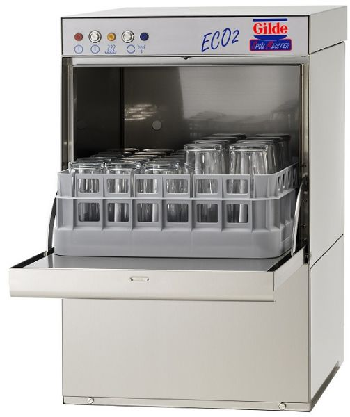 Gläserspülmaschine für den Großkücheneinsatz mit offenem Korb für Gläser und Tassen