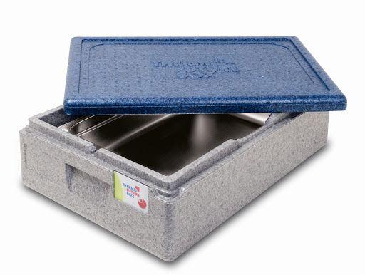 Halb geöffnete graue Thermobox mit blauem Deckel 21 Liter