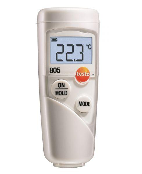 Infrarottemperaturmessgerät mit blauer Displayanzeige und zwei Tasten