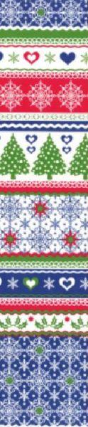 buntes Weihnachtsgeschenkpapier Muster 3 in den Farben Blau, Grün und Rot mit diversen Motiven