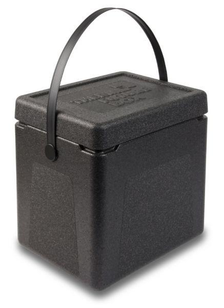 Schwarze Box aus expandiertem Polypropylen mit Isoliereigenschaften und Deckel inklusive Tragegriff