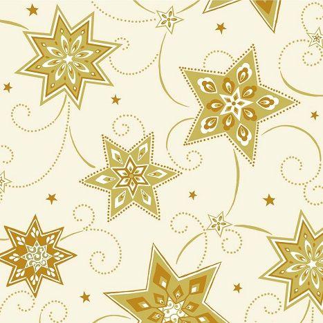 Buntbedruckte Serviette mit Weihnachts-Sternen-Motiv in den Farben Gold, Rot und Creme