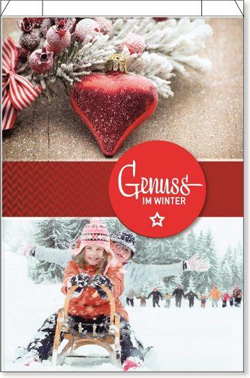 """Bedruckter Faltenbeutel mit rotem Porzellanherz, rodelnden Kinder und Aufschrift """"Genuss im Winter"""""""