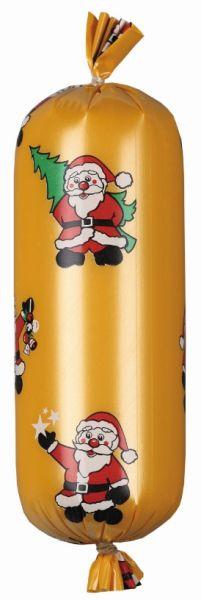 Goldener Kunstdarm bedruckt mit einem Weihnachtsmann und Tannenbaum im Festtagsdesign