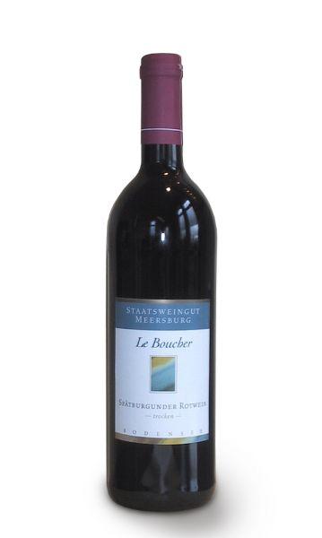 0,75 Liter Flasche trockener Rotwein Le Boucher vom Staatsweingut Meersburg der Sorte Spaetburgunder