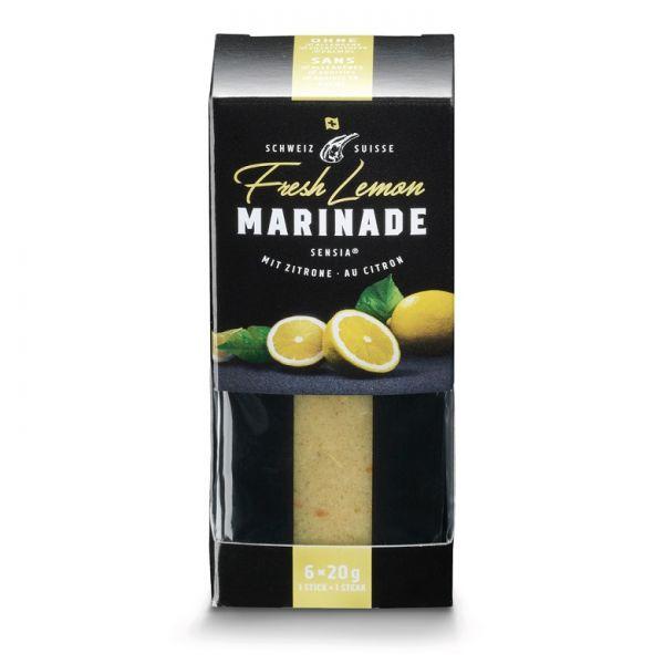 Verpackung mit portionierten Gewürzmarinaden für Grillgut mit Geschmack Fresh Lemon durch Zitrone