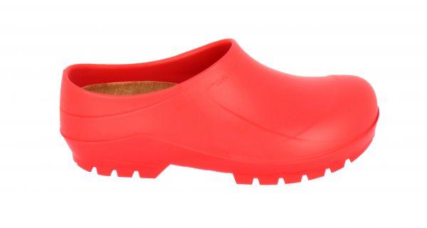 Roter PU-Clog mit Innensohle aus Kork