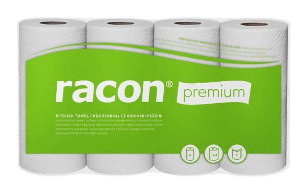 Packung mit vier Rollen weißem Küchenpapier mit der Aufschrift racon premium vor grünem Druck