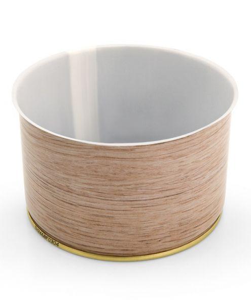 Weißblechdose in Holzoptik mit 400 gramm Fassungsvermögen für Lebensmittelkonservierung geeignet